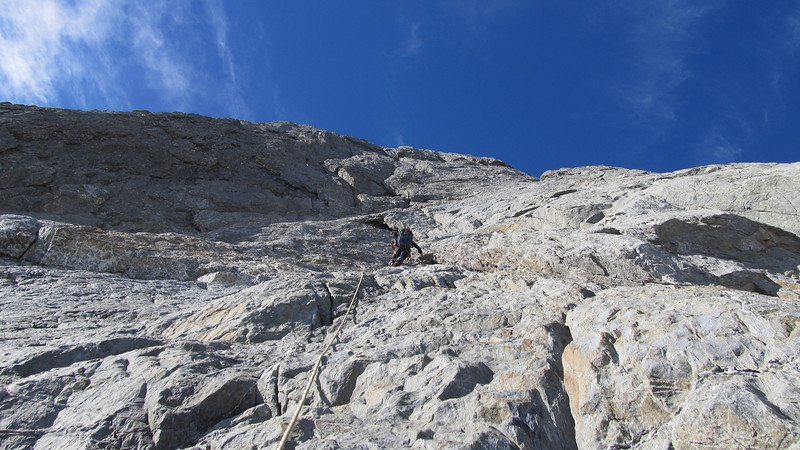 James climbing the West Face of Mt Jackson.