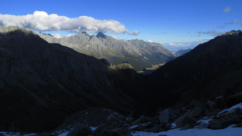 View of the Hopkins from Elcho Pass, Glencairn, Dasler Pinnacles and Glenmary in the sun.