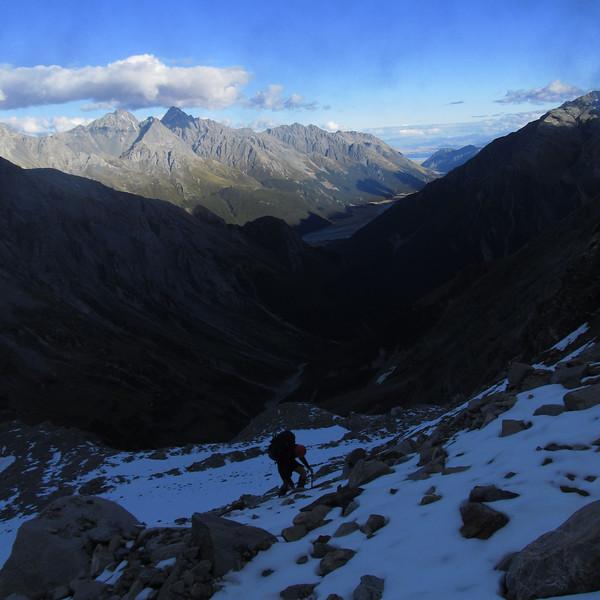 Climbing up to Elcho Pass.