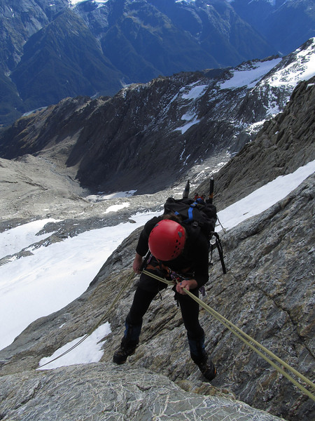 James abseiling the West Face of Mt Jackson.