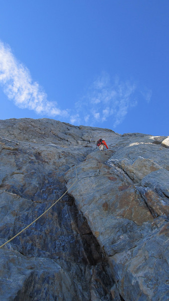 Aaron climbing the West Face of Mt Jackson.