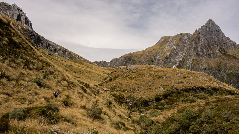 Sidling into the head of the Paringa, McCullaugh Pass in the centre, Douglas Spur on the right.