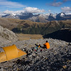 Camp above Marks Flat on the SE ridge of Mt Hooker.