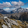 Mt Mackenzie and Strauchon framing Brodrick Pass.