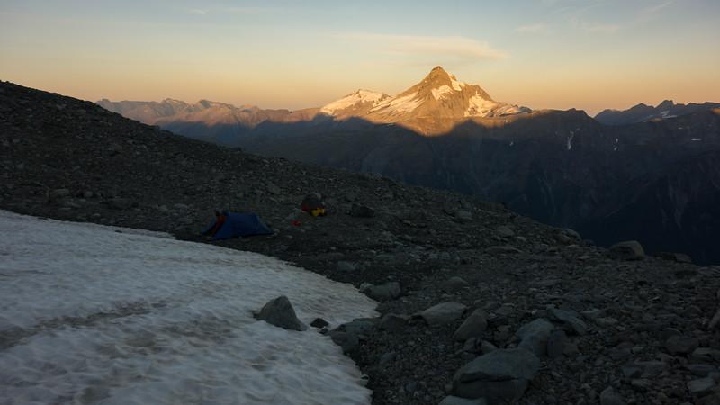 Hooker above camp at sunrise.