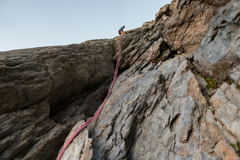 Abseiling the second pitch (photo - James Thornton).