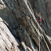 Me on the third pitch (photo - James Thornton).