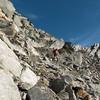 Descending the rubble below Elcho Pass (photo - James Thornton).