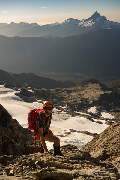 Reaching the top of the face at sunset, Mt Hooker behind.