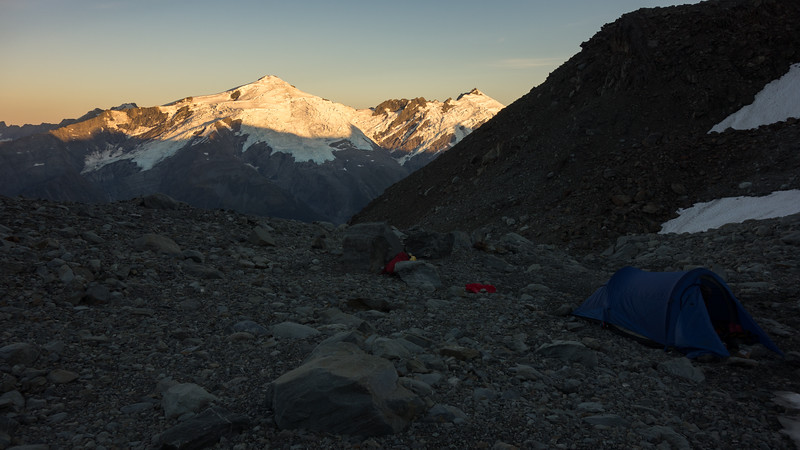 Dechen and Strachan above camp at sunrise.