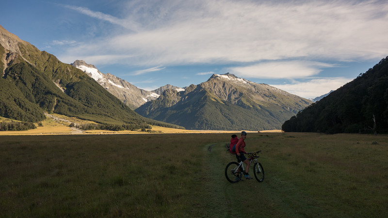 Biking up the true left of the Hopkins and approaching Elcho Stream, Mt Jackson coming into view on the left (photo - James Thornton).