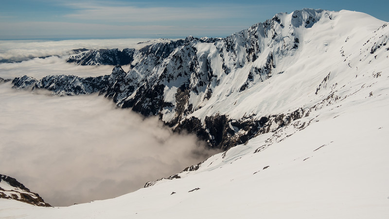Lantern Peak above a cloudy Tunnel Creek.