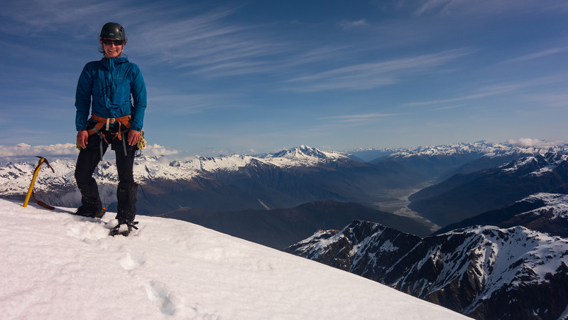On the summit of McCullaugh with the Haast below (photo - James Thornton).