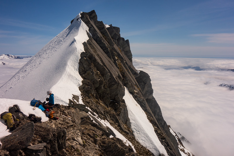 Lunch on the crossing point of McCullaugh's west ridge (photo - James Thornton).