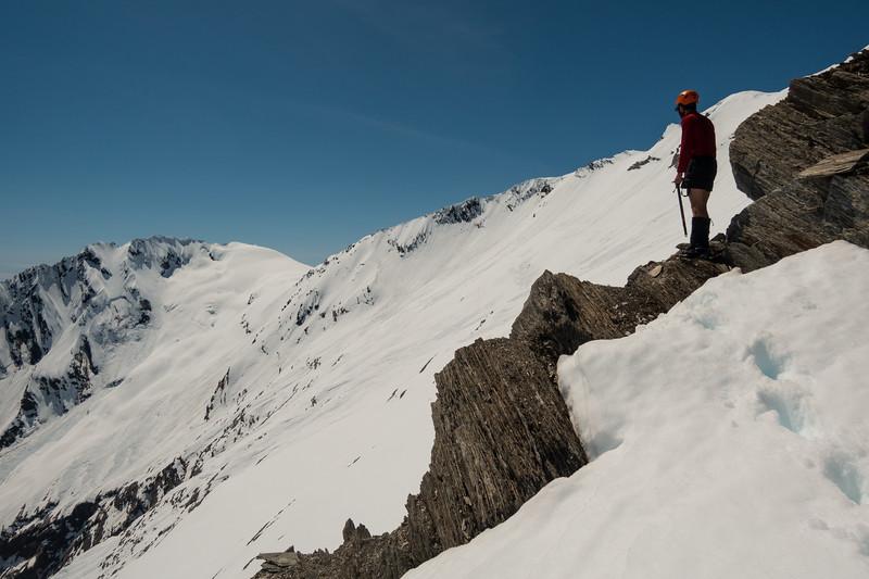 Crossing over the west ridge of Mt McCullaugh, Lantern Peak on the left.