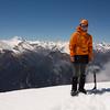 James on the summit of McDonald, Sefton on the left.