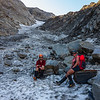 On the snow ramp leading to Elcho Pass (photo - Julia Valigore).