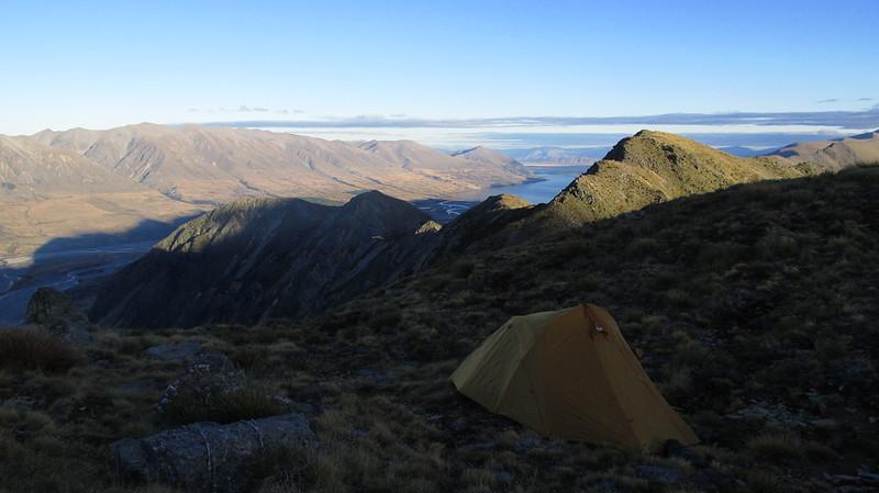 Camp on the ridge to Rabbiters Peak, Lake Ohau below.