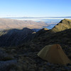 Camp on the ridge to Rabbiters Peak, Lake Ohau below.