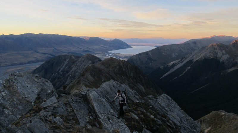 Climbing the ridge to Rabbiters Peak, Lake Ohau below.