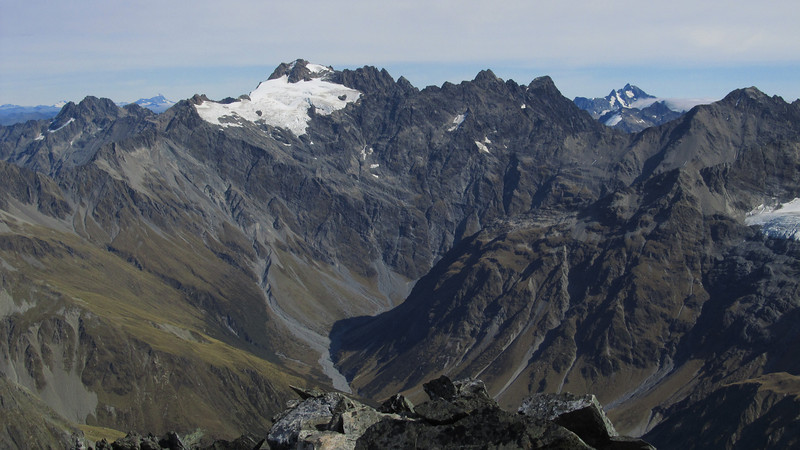 Mt Huxley from Rabbiters Peak (centre), Brewster on the right.