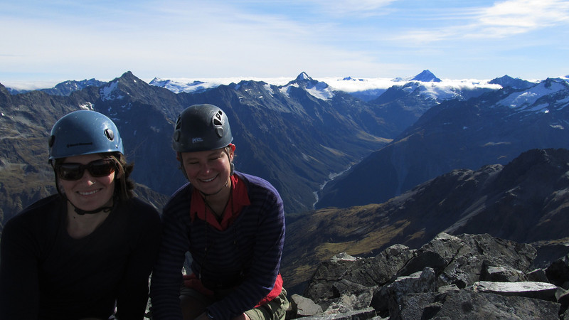 On the summit of Rabbiters Peak; Broderick Pass and the North Huxley behind, with Strauchon on the left and Hooker on the right.