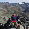 On the summit of Rabbiters Peak, Mt Huxley behind.