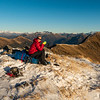 Afternoon tea on the Thomas Range before descending to bushline on Windrow Spur (photo - James Thornton).
