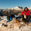 Afternoon tea on the Thomas Range before descending to bushline on Windrow Spur.