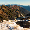 The Thomas Range snaking into the distance towards the Haast valley. Mt Awful and Alba far left, Mt Nerger left of the Thomas Range, the Mataketake Range on the right.