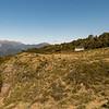 John Reid Hut, Mt Owen behind.