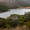 Boulder Lake, the hut is on the far end in the tussock.