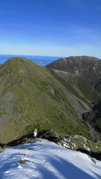 Looking down Surveyor Spur towards Stace Saddle.