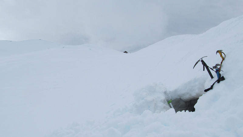 The cave after the desparate descent and the triggered avalanche.