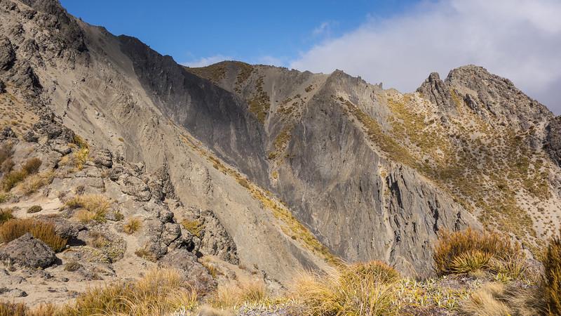 This nasty section of argillite beyond Pt 1410m forced a detour into Snowgrass Stream to climb Macintosh Knob.