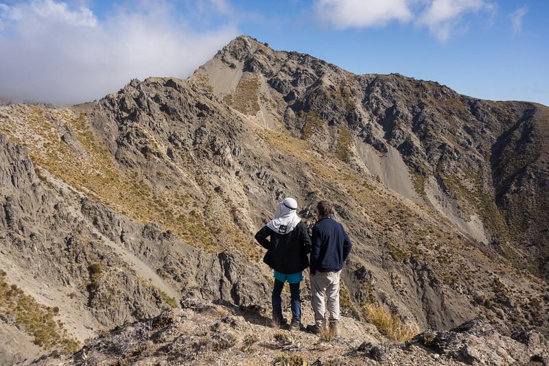 Neil and John eyeing up possible routes onto Mackintosh Peak.