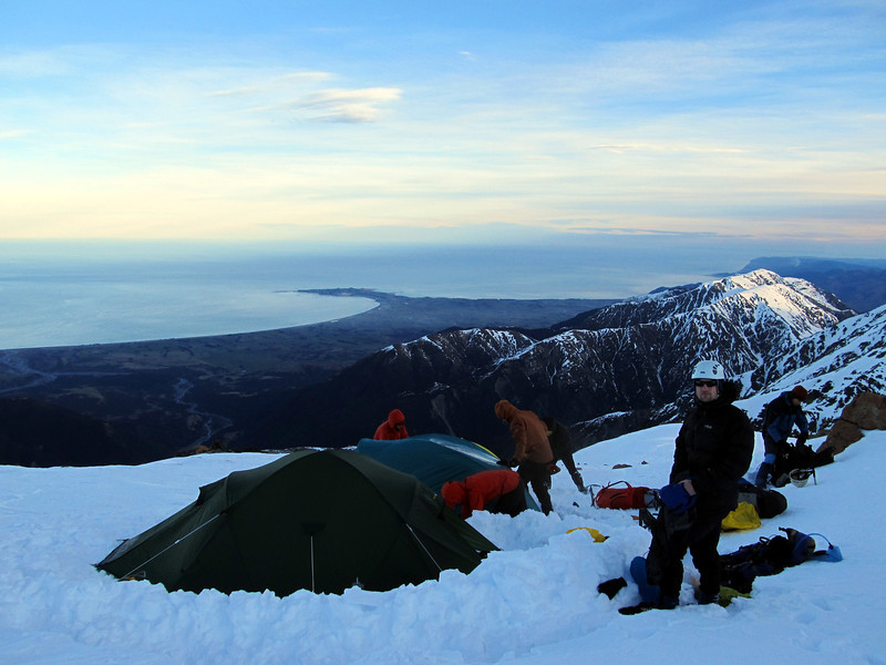Camp on Surveyor Spur around 1940m, Kaikoura peninsula below.