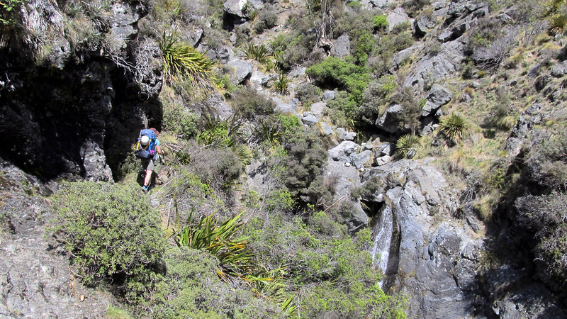 High sidle above the final Hodder gorge before reaching the huts.
