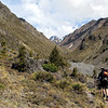 High above the final Hodder gorge before reaching the huts, Mitre Peak in the centre.