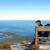 On the summit of My Fyffe, Kaikoura Peninsula below.