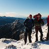 Eric, Jaz and James below the summit of Mt Richmond, Mt Fishtail in the distance.