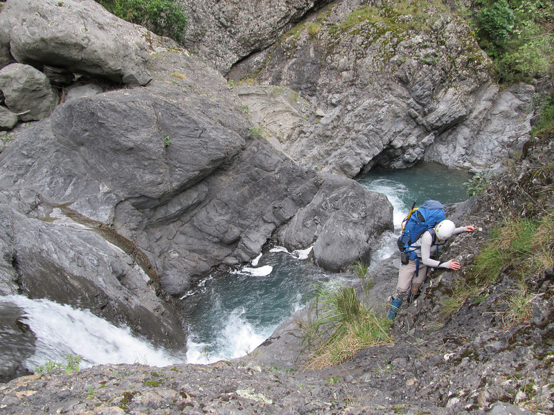 Exciting sidle around the second waterfall.