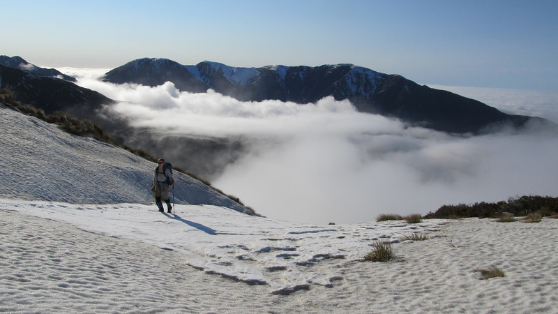 On the snowslopes below Snowflake, Mt Fyffe behind.