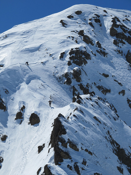 Marta and Andrew descending a steep section on the South Ridge,