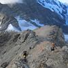 Descending Kaitiaki Peak, the campsite is on the left.