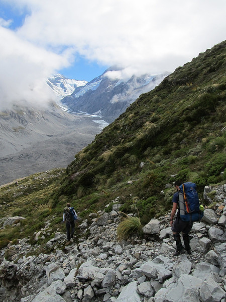 Making our way up the Hooker Valley.