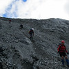 Quick scree descent to the Ball Glacier