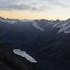 Mt Sefton above the Hooker Lake at dusk.