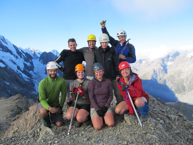 On top of Kaitiaki Peak. Top from left to right: Matteo, Geoff, Maureen, Martin. Bottom from left to right: Karl, Kat, Nina, Jo