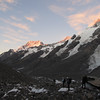Heading up the Tasman to a sunrise on the east face of Mt Cook.